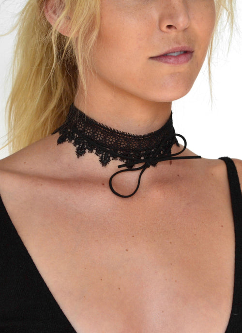 Wide Lace Bow Tie Choker