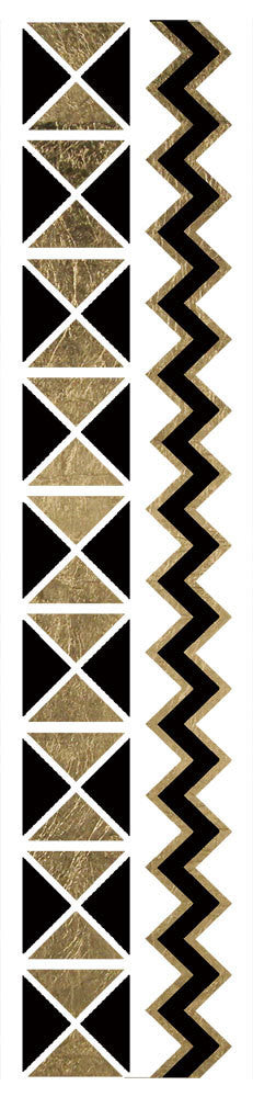 Fashion Tats Black & Gold Geo Zig Zag Bracelets