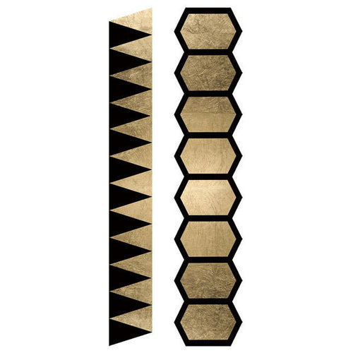 Fashion Tats Gold & Black Geometric Bracelets