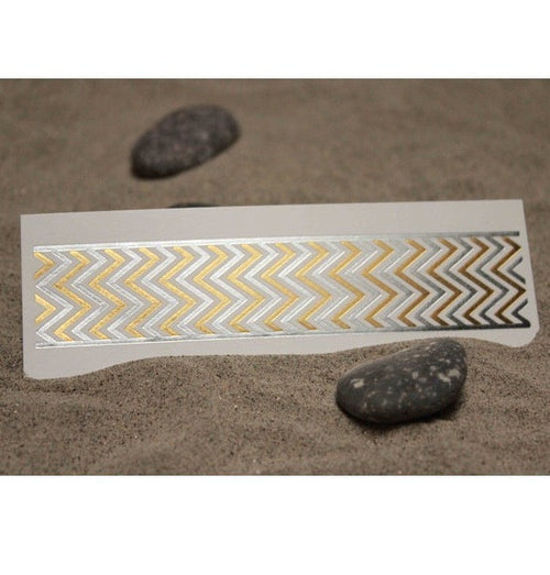 Gold & Silver Zig Zag Fashion Tats Cuff w/ Silver Outline