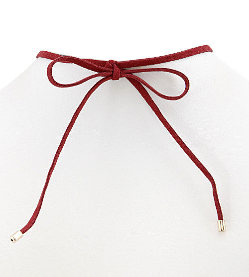 Burgundy Suede Bow Tie Choker Necklace