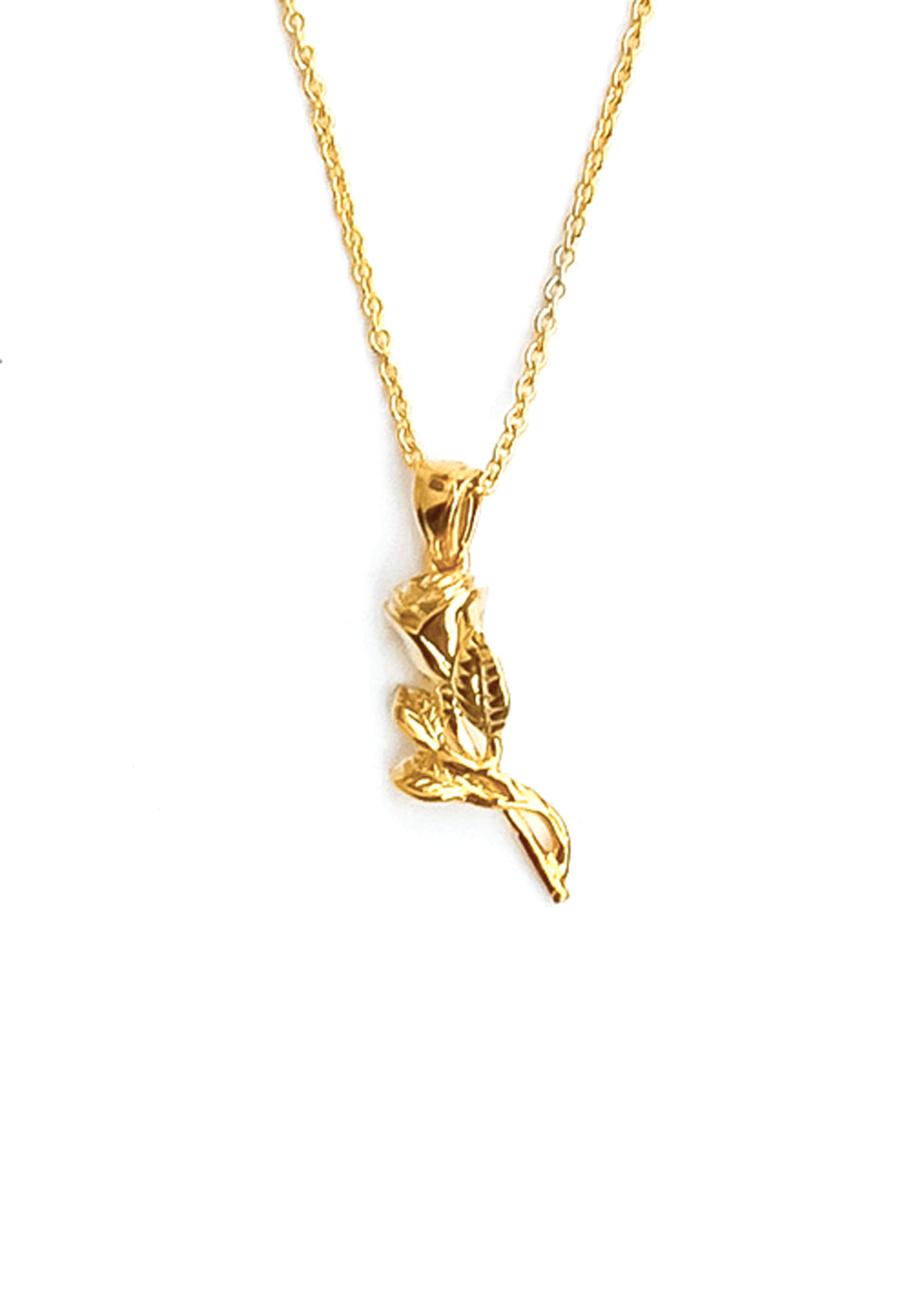 Single Rose 14k Gold Necklace