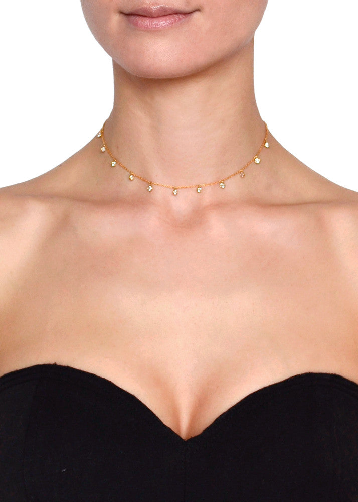 Amore Delicate Crystal Chain Choker - Gold