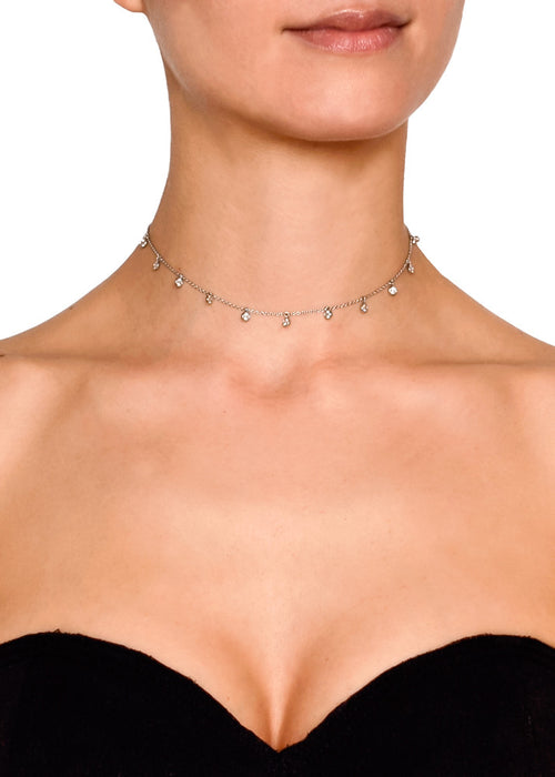 Amore Delicate Crystal Chain Choker - Silver