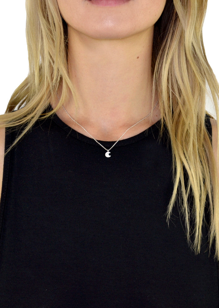 Tiny Crystal Moon Necklace