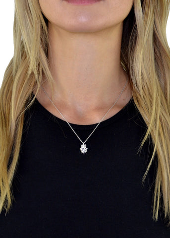 Cutout Crystal Crescent Horn Necklace
