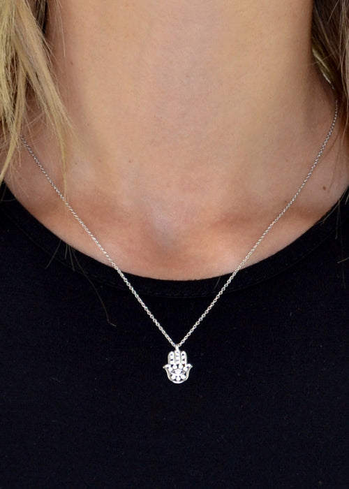 Dainty Crystal Hamsa Hand Necklace
