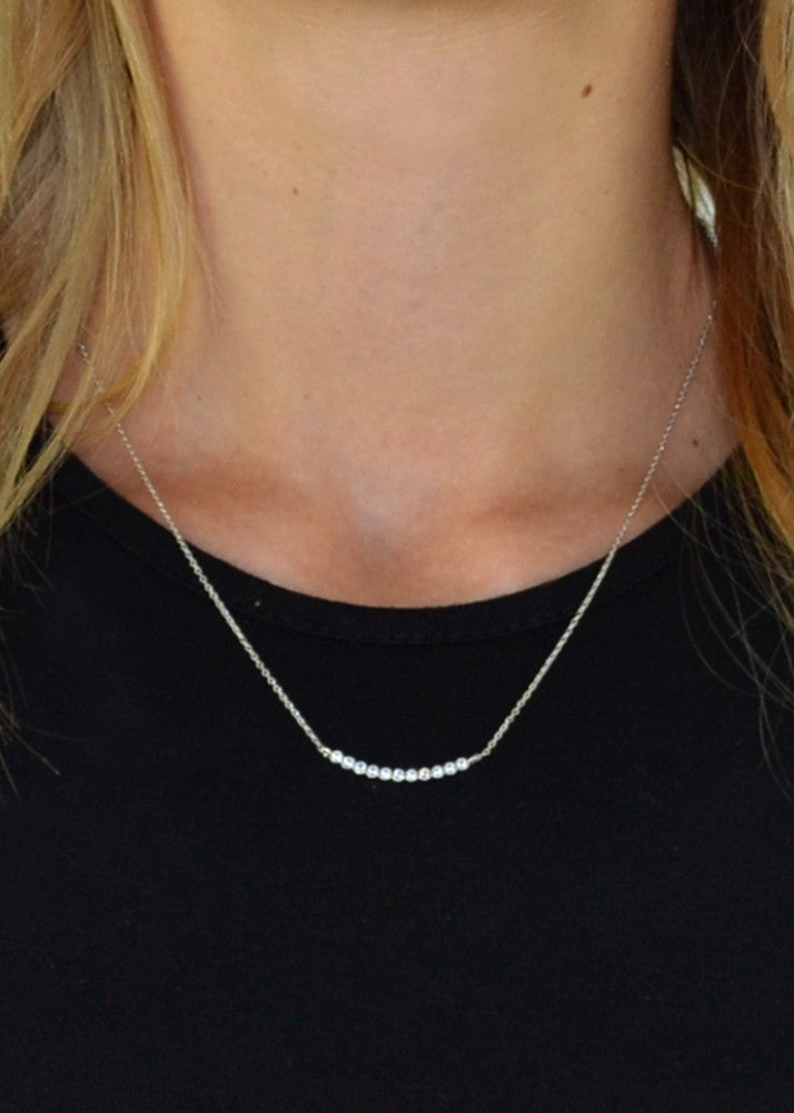 Dainty Crystal Curved Bar Necklace