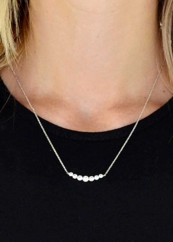 Dainty Staggered Crystal Curved Bar Necklace