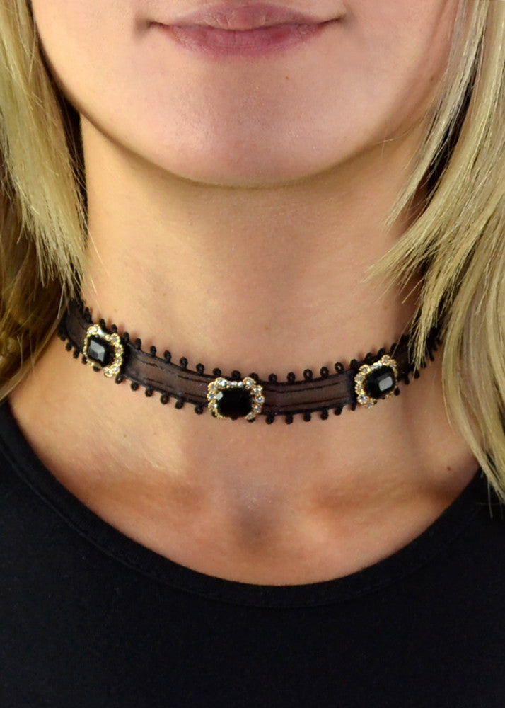 Monaco Jeweled Black Ribbon Choker
