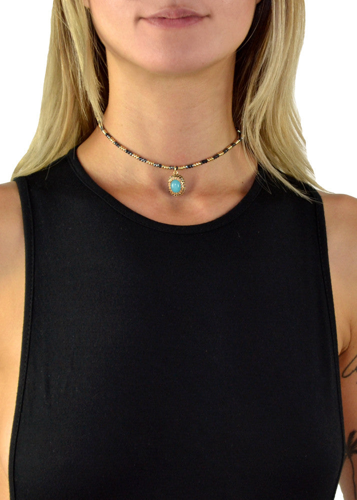 Valencia Jeweled Beaded Choker - Turquoise