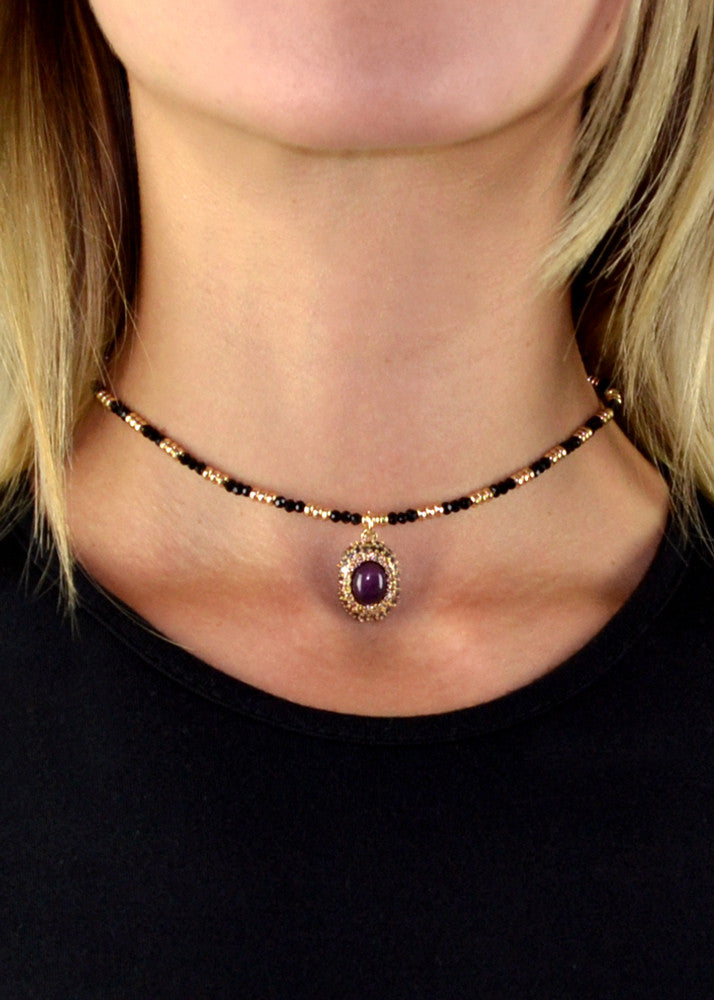 Valencia Jeweled Beaded Choker - Deep Purple