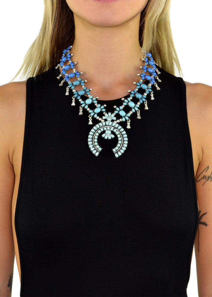 Crescent Horn Beaded Turquoise Statement Necklace