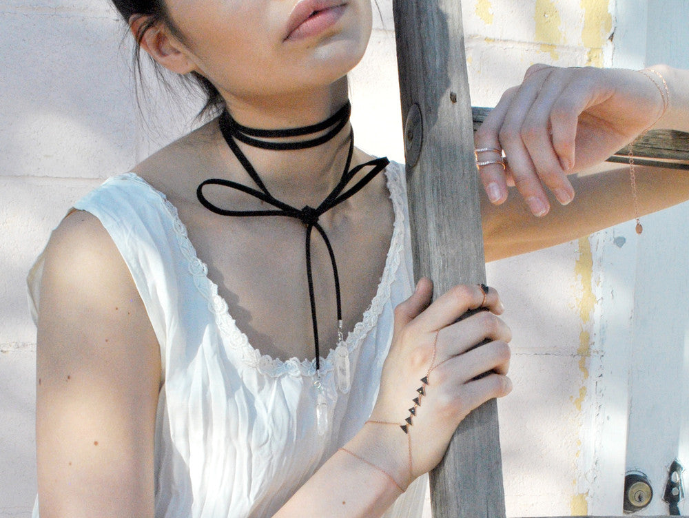 Aryana Natural Stone Black Suede Wrap Choker Necklace