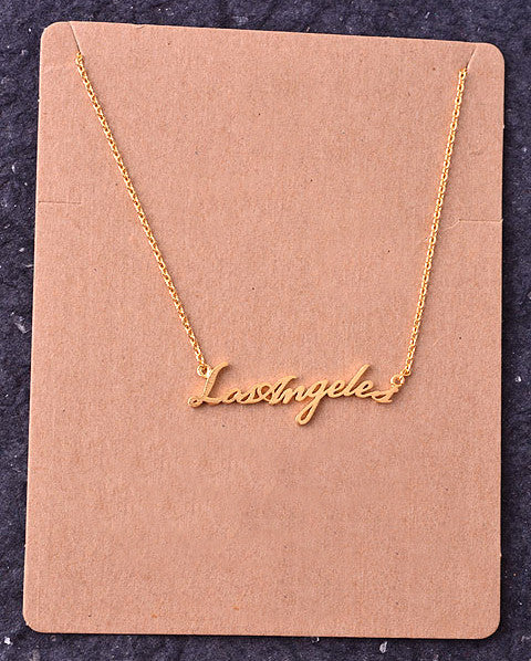 Los Angeles Script Pendant Necklace