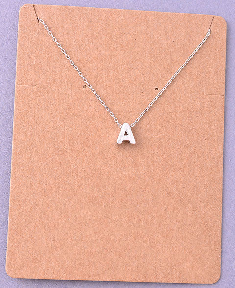 Dainty Initial Letter Alpha Pendant Necklace - A