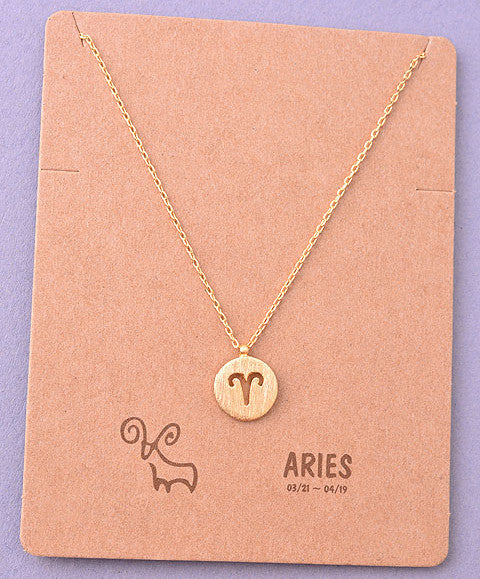 Dainty Horoscope Zodiac Coin Pendant Necklace
