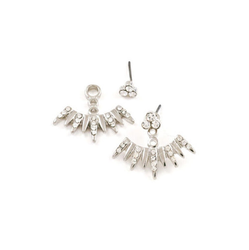 Spiked Crystal Ear Jackets Earrings