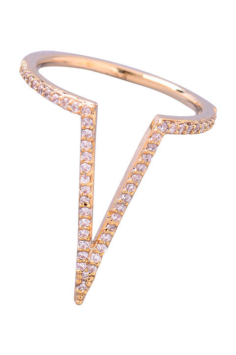 Pave Crystal Deep V Ring
