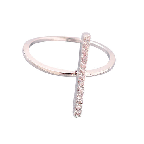 Pave Crystal Bar Ring