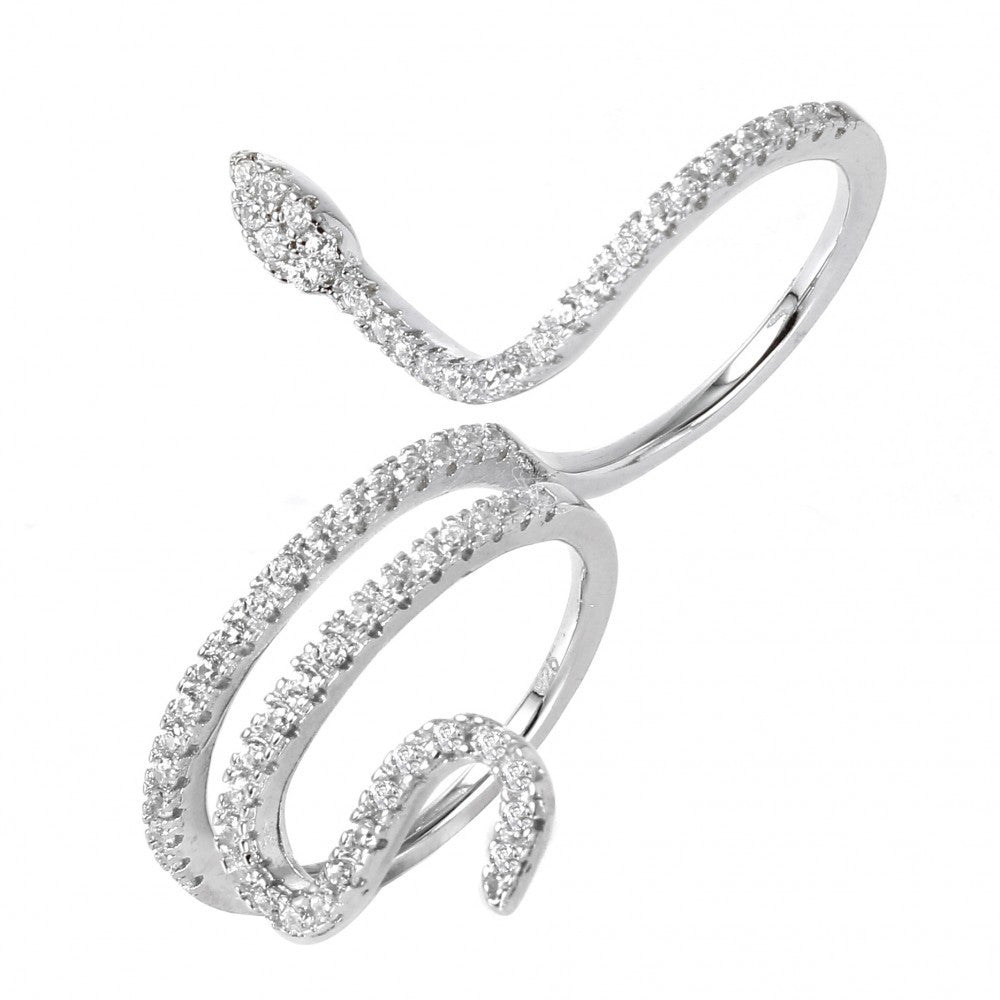 Sterling Silver Snake Two-Finger Ring