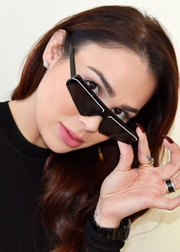 Slim Techno Rectangle Sunglasses Black