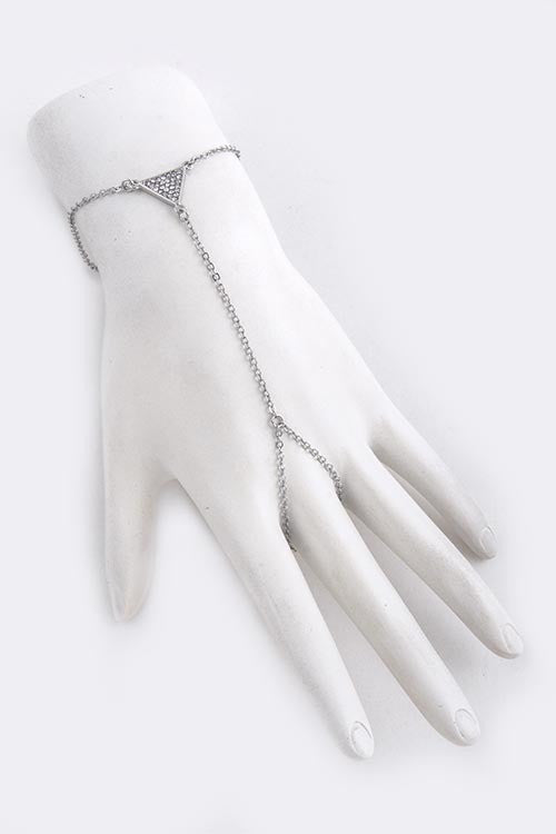 Pave Crystal Triangle Hand Chain
