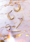 Curved Long Gold Claw Earrings