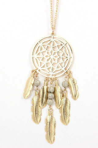 Long Gold Dreamcatcher Chain Necklace