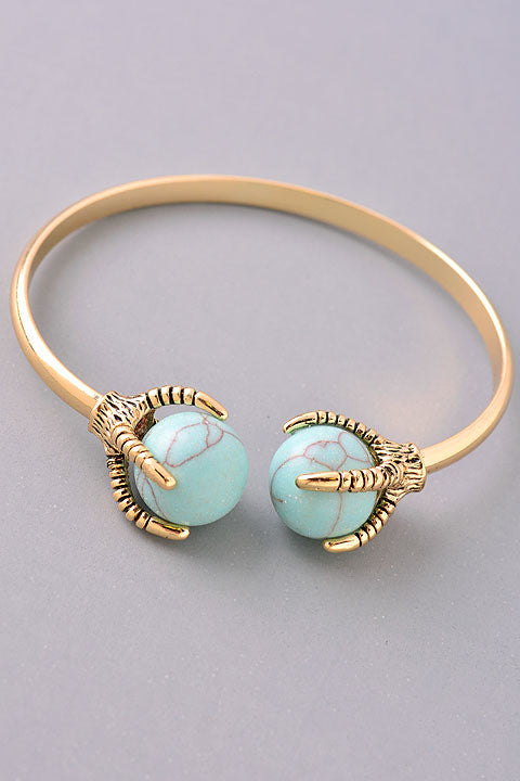 Marbled Turquoise Open Claw Stone Bracelet