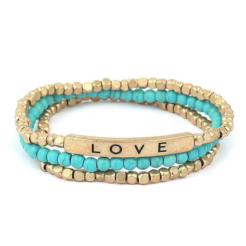 Bohemian Love Turquoise Beaded Bracelet Set