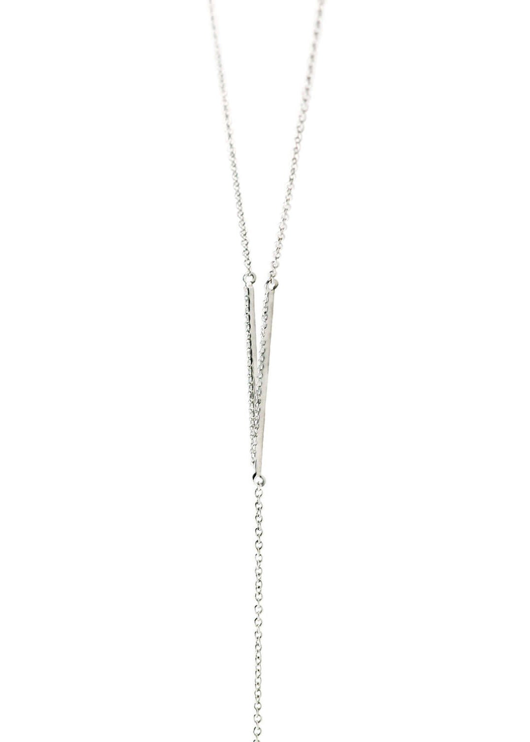 Crystal V Lariat Necklace - Silver