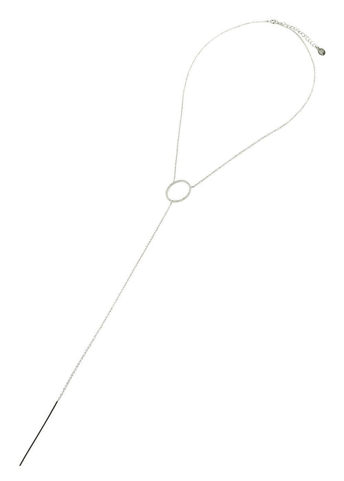 Crystal Circle Lariat Necklace
