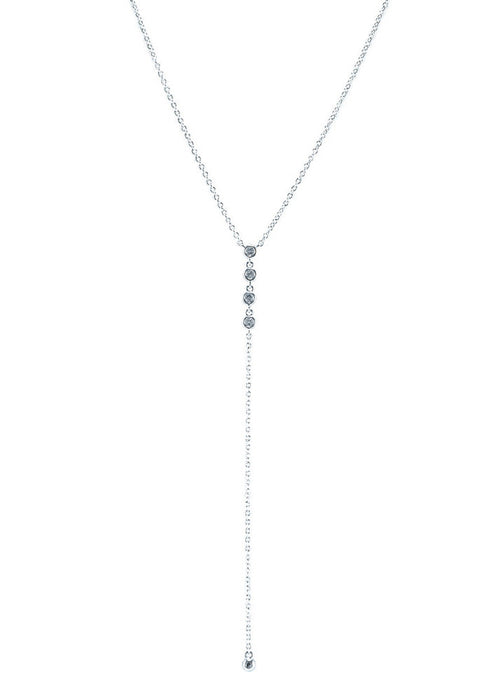Erin Dainty Crystal Lariat Necklace - Silver