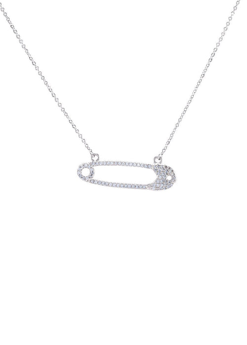 Crystal Safety Pin Necklace