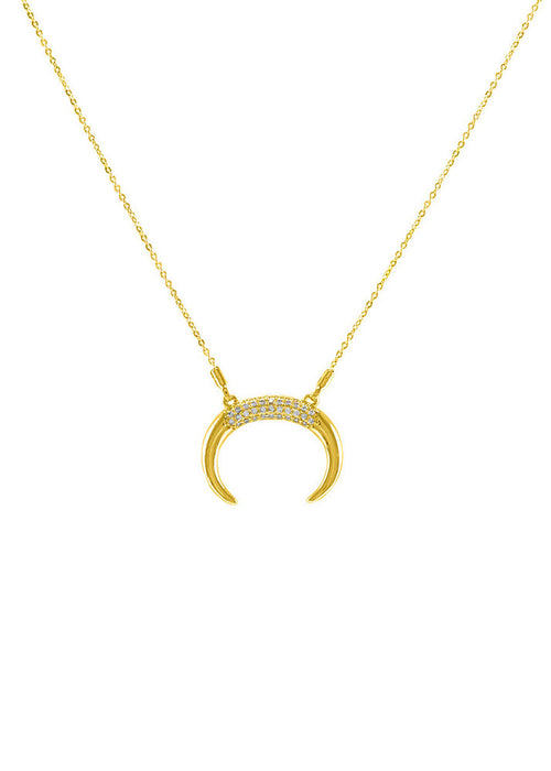 Nadine Crescent Horn Crystal Necklace - Gold