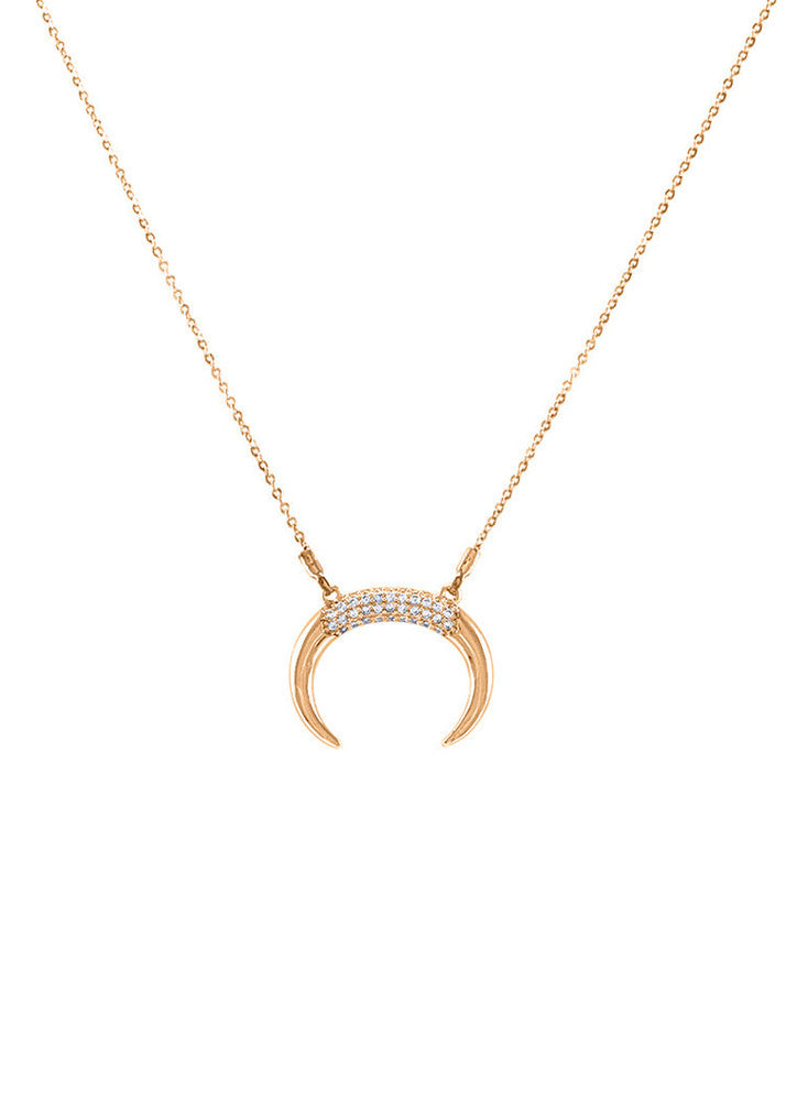 Nadine Crescent Horn Crystal Necklace - Rose Gold