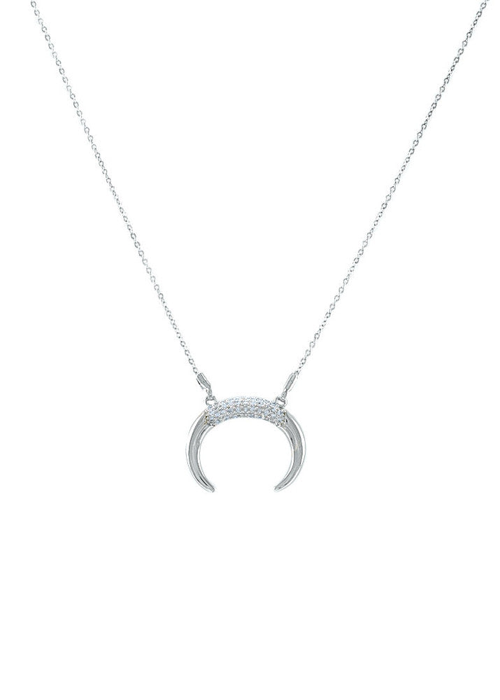 Nadine Crescent Horn Crystal Necklace - Silver