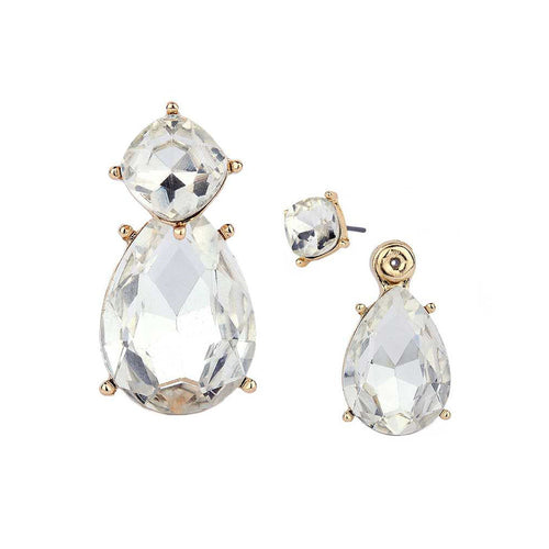 Crystal Teardrop Double Sided Peekaboo Earrings
