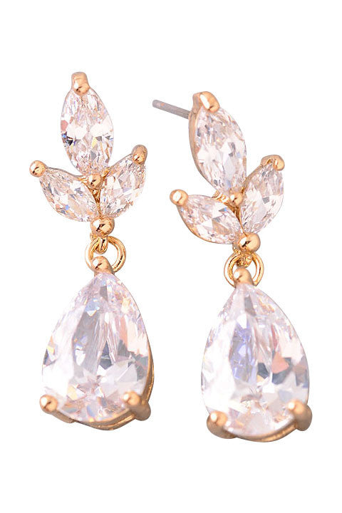 Laurel Leaf Crystal Teardrop Earrings