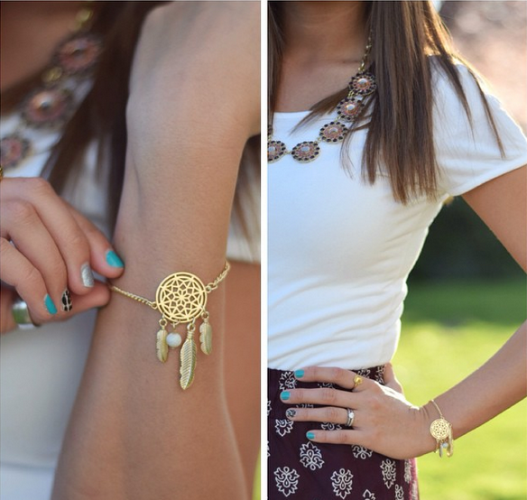 Dream Catcher Chain Bracelet Gold