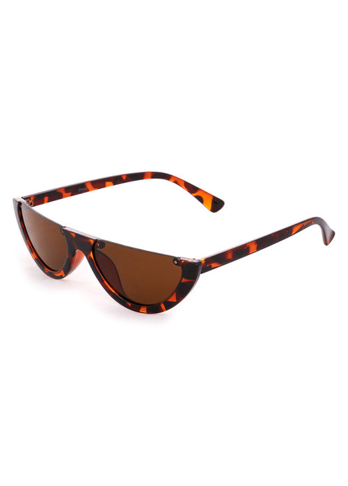 Semi Rimless Flat Top Sunglasses Tortoiseshell