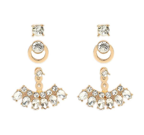 Blinged Out Ear Jacket Earring Set