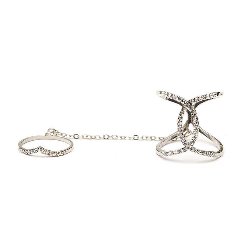 Overlapping Crystal Chain Linked Knuckle Ring