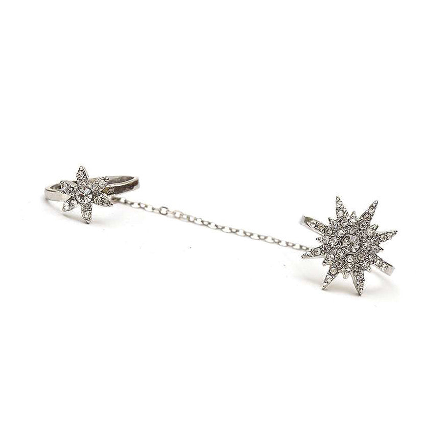 Crystal Starburst Chain Linked Knuckle Ring