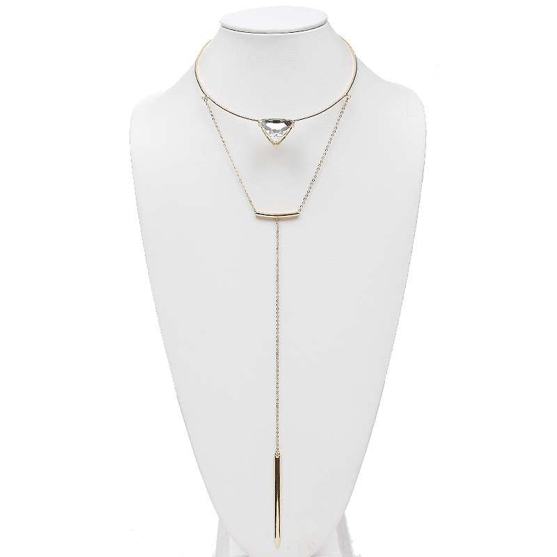 Crystal Drop Gold Choker Necklace
