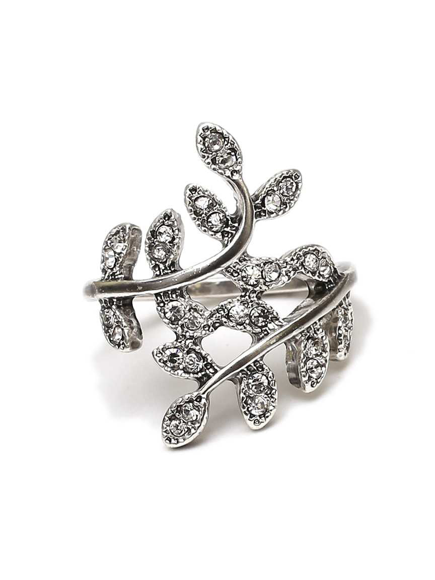 Elora Crystal Leaf Ring