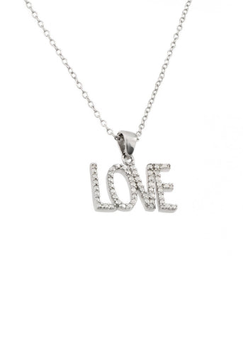 Crystal Sterling Silver Love Script Necklace