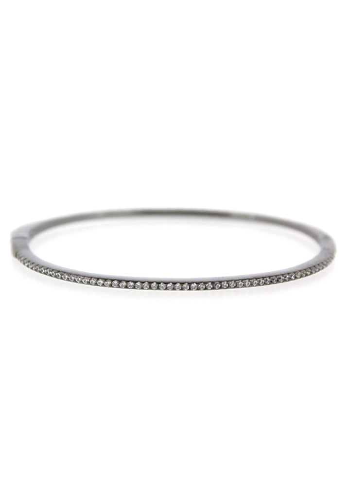 Crystal Solid Sterling Silver Bangle Bracelet - Gunmetal