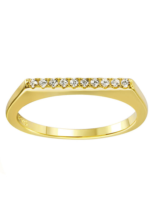 Dainty CZ Crystal Gold Bar Stackable Ring